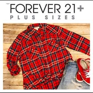 🌷Forever 21+ Plaid Red Blue Button Down Size 2X🌷